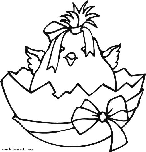 Coloriage et dessins gratuits Poussin de Pâques à imprimer