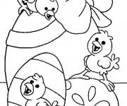 Coloriage Poussin de Pâques à colorier