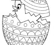 Coloriage Poussin sortant d'oeuf de Pâques