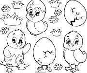 Coloriage Poussins de Pâques pour téléchargement