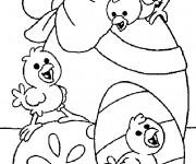 Coloriage Poussins sur Oeuf décoré avec Noeud