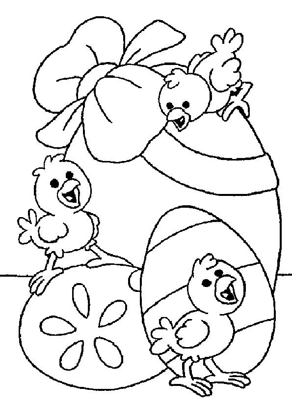 Coloriage et dessins gratuits Poussins sur Oeuf décoré avec Noeud à imprimer