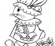 Coloriage Un lapin de Pâques marrant