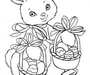 Coloriage Une belle lapine de Pâques