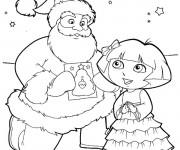 Coloriage et dessins gratuit Dora de Noël à imprimer