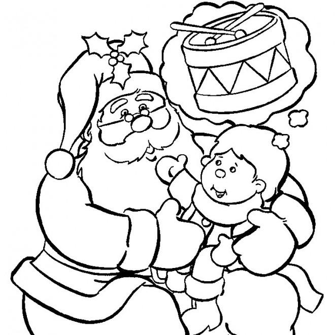 Coloriage et dessins gratuits L'enfant exprime son souhait pour le Noel à imprimer