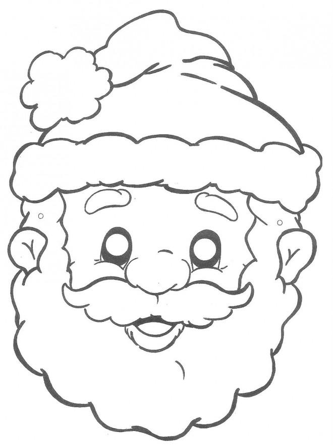 Coloriage et dessins gratuits Le Visage de Père Noël à imprimer