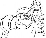 Coloriage et dessins gratuit Père Noël à la Maison à imprimer