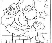 Coloriage et dessins gratuit Père Noël apporte Les Cadeaux à imprimer