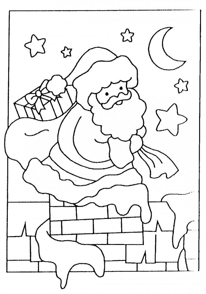Coloriage et dessins gratuits Père Noël apporte Les Cadeaux à imprimer