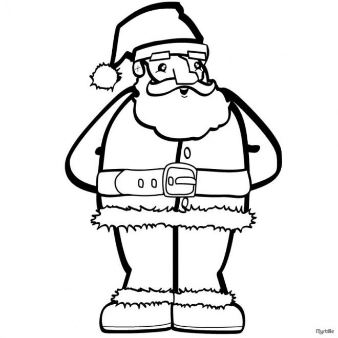 Coloriage et dessins gratuits Père Noël avec sa barbe blanche à imprimer