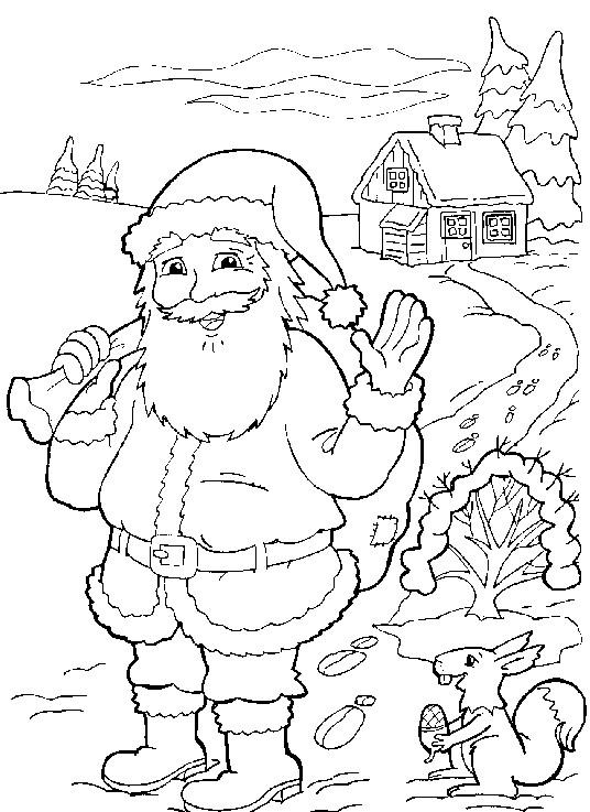 Coloriage et dessins gratuits Père Noël dans le village à imprimer