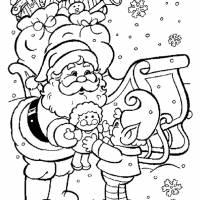 Coloriage et dessins gratuit Père Noël distribue Les Cadeaux à imprimer