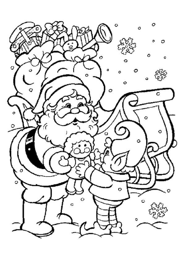 Coloriage et dessins gratuits Père Noël distribue Les Cadeaux à imprimer
