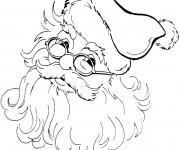 Coloriage et dessins gratuit Père Noël en portant ses lunettes à imprimer