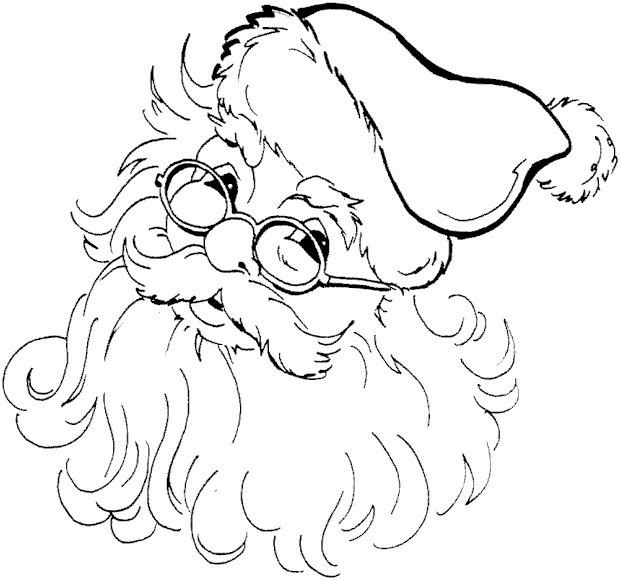 Coloriage et dessins gratuits Père Noël en portant ses lunettes à imprimer