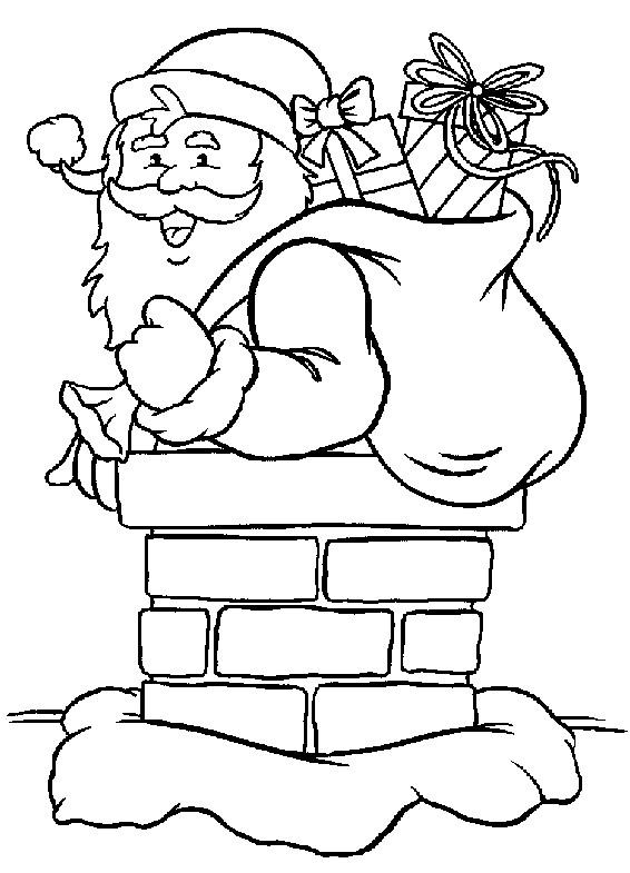 Coloriage et dessins gratuits Père Noël entre par la cheminée à imprimer