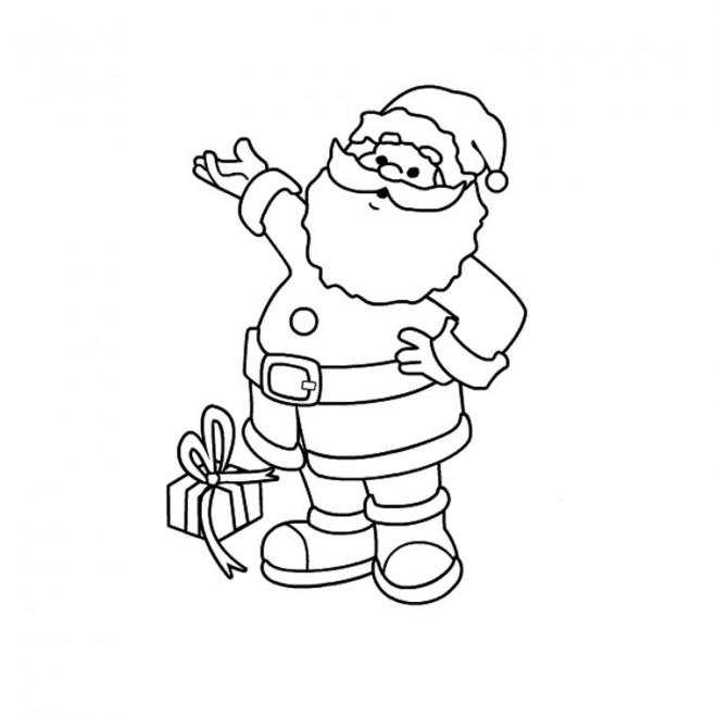 Coloriage Père Noël Et Cadeaux Couleur