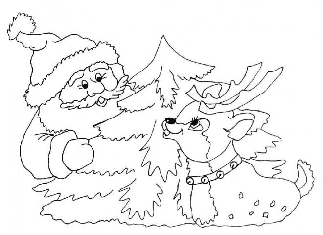 Coloriage et dessins gratuits Père Noël et La Renne en ligne à imprimer