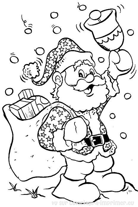 Coloriage et dessins gratuits Père Noël et sa cloche à imprimer