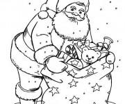 Coloriage et dessins gratuit Père Noël et ses jouets à imprimer