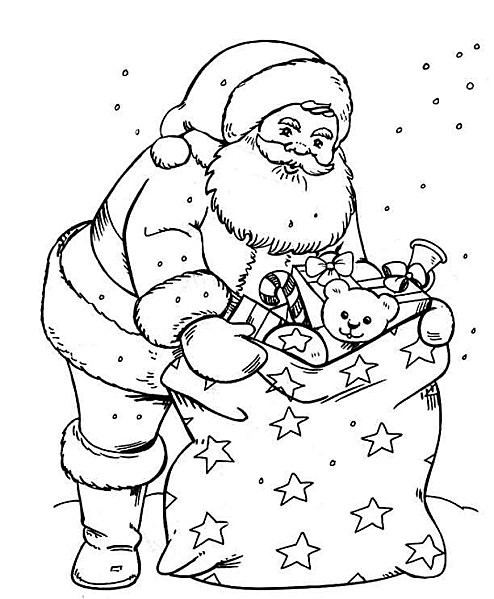 Coloriage et dessins gratuits Père Noël et ses jouets à imprimer