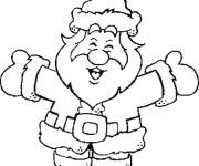 Coloriage et dessins gratuit Père Noël heureux à imprimer