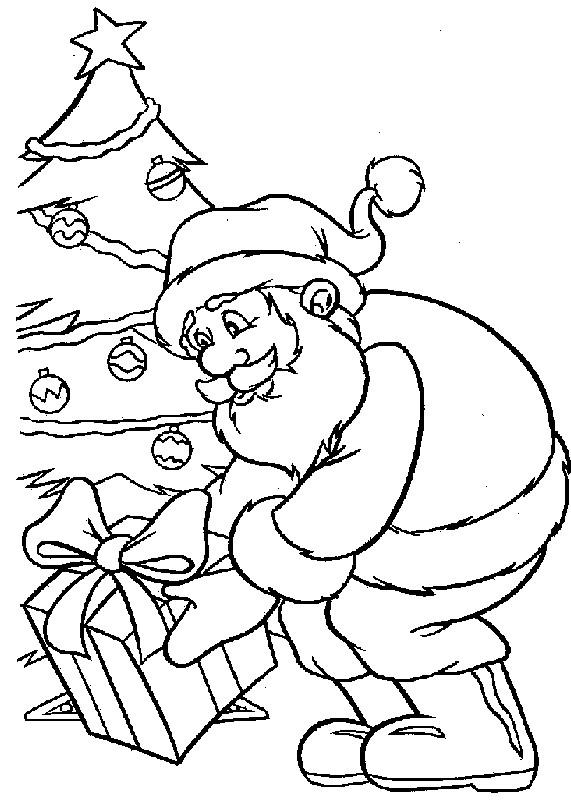 Coloriage et dessins gratuits Père Noël laisse des cadeaux sous le sapin à imprimer