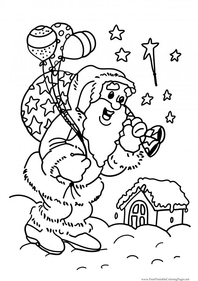 Coloriage et dessins gratuits Père Noël portant de ballons à imprimer