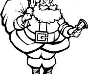 Coloriage et dessins gratuit Père Noël portant le sac des Cadeaux à imprimer