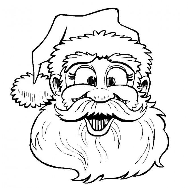 Coloriage et dessins gratuits Père Noël souriant à imprimer