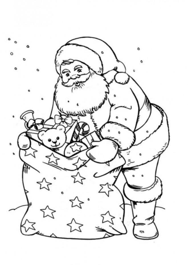 Coloriage et dessins gratuits Père Noël sous les flocons de neige à imprimer