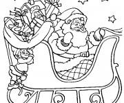 Coloriage et dessins gratuit Père Noel sur son traîneau à imprimer