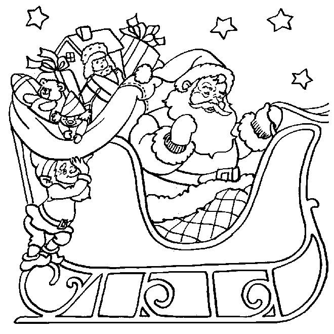 Coloriage Père Noel Sur Son Traîneau