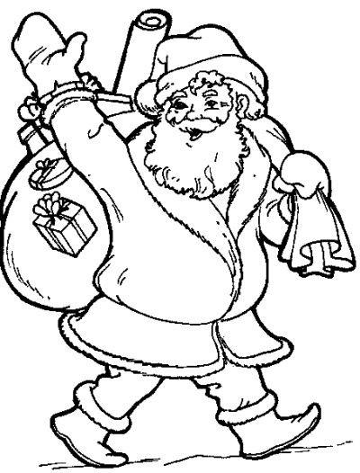 Coloriage et dessins gratuits Portrait de Père Noël portant son  sac à imprimer