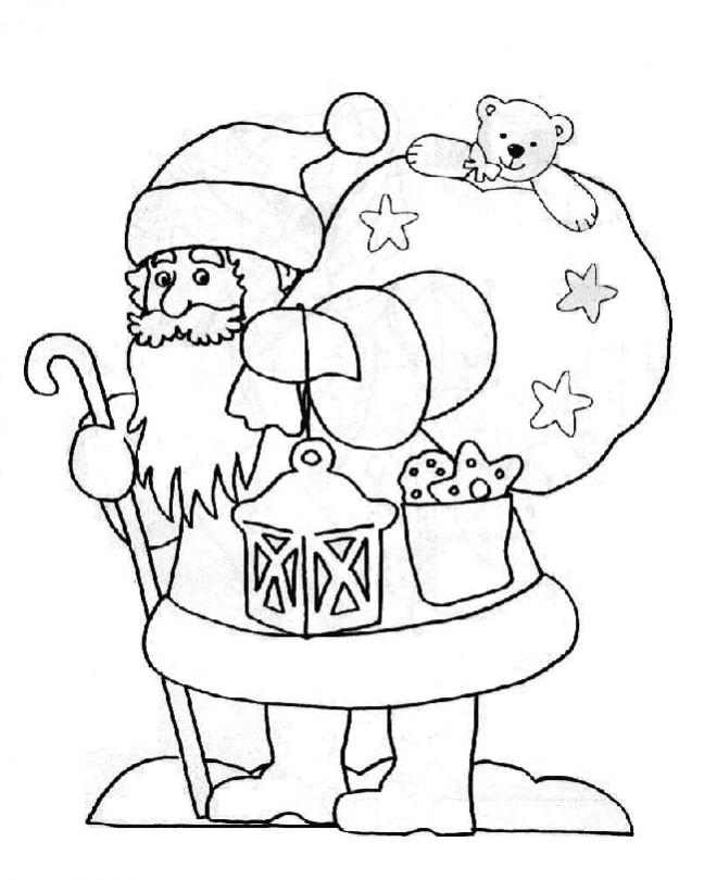 Coloriage et dessins gratuits Sac de cadeaux sur le dos de Père Noël à imprimer