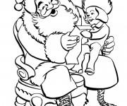 Coloriage et dessins gratuit Une Fille donne une lettre au Père Noël à imprimer
