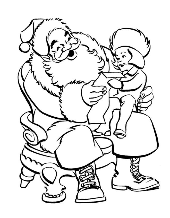 Coloriage et dessins gratuits Une Fille donne une lettre au Père Noël à imprimer