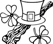 Coloriage Chapeau et Trèfle de Saint-Patrick
