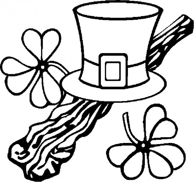 Coloriage et dessins gratuits Chapeau et Trèfle de Saint-Patrick à imprimer