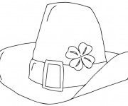 Coloriage Chapeau Saint-Patrick décoré avec trèfle