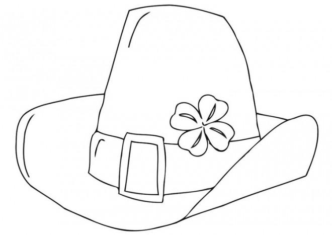 Coloriage et dessins gratuits Chapeau Saint-Patrick décoré avec trèfle à imprimer