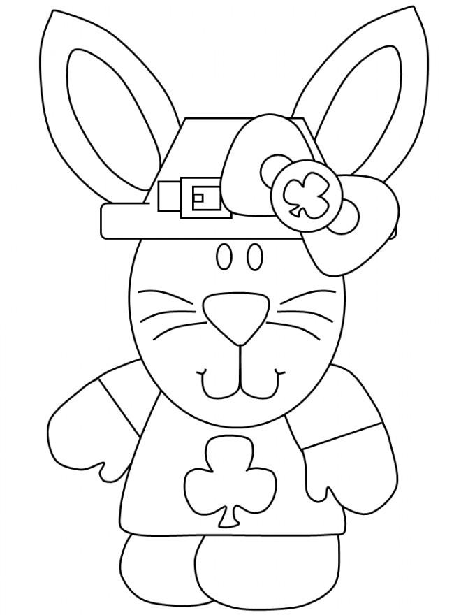 Coloriage et dessins gratuits Lapin déguisement pour Saint-Patrick à imprimer