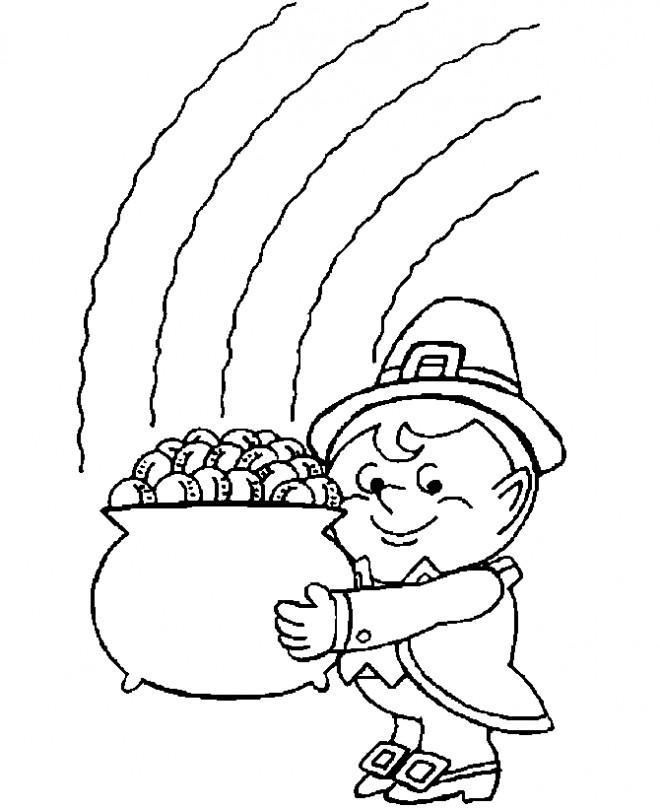 Coloriage et dessins gratuits Petit Saint-Patrick Avec Pièces D'or à imprimer