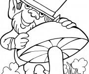 Coloriage Saint-Patrick et champignon
