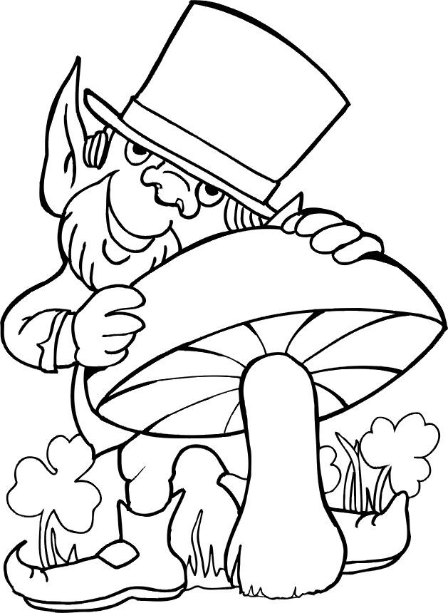 Coloriage et dessins gratuits Saint-Patrick et champignon à imprimer