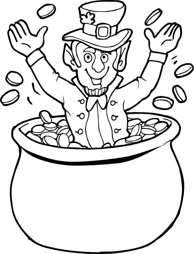 Coloriage et dessins gratuits Saint-Patrick et chaudron d'or à imprimer