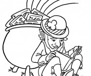 Coloriage Saint-Patrick Leprechaun lit un livre