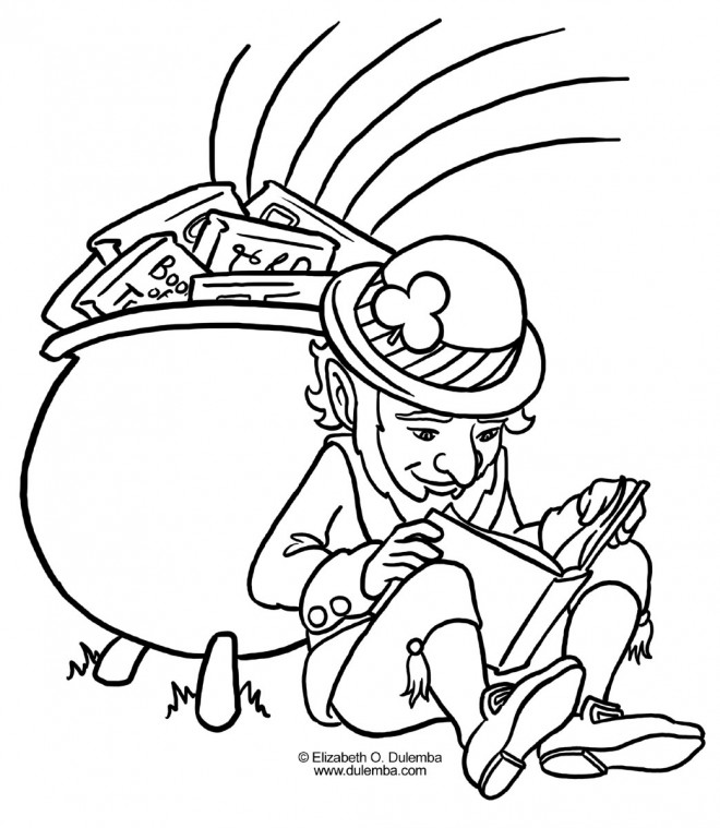 Coloriage et dessins gratuits Saint-Patrick Leprechaun lit un livre à imprimer