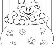 Coloriage Saint-Patrick Leprechaun stylisé